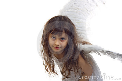 Portrait of beautiful girl with angel s wings