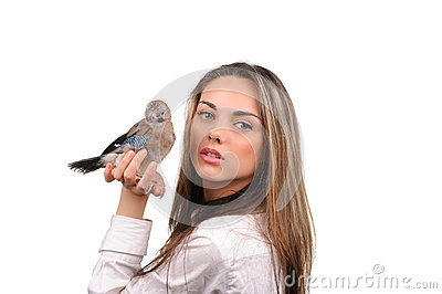 Portrait of beautiful girl with bird