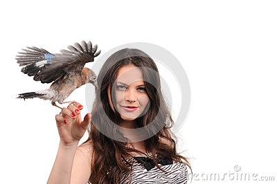 Portrait of beautiful girl with bird