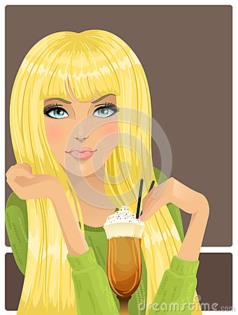Portrait of beautiful girl with cocktail