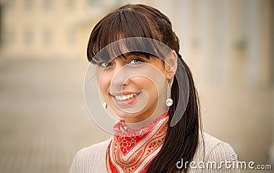 Portrait of beautiful girl with dark hair
