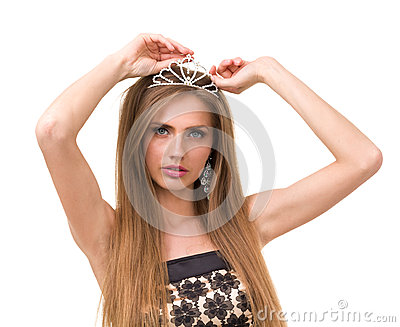 Portrait of beautiful girl with diadem