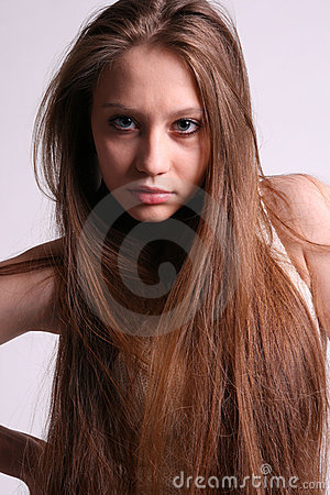 Portrait of beautiful girl with flowing hair.