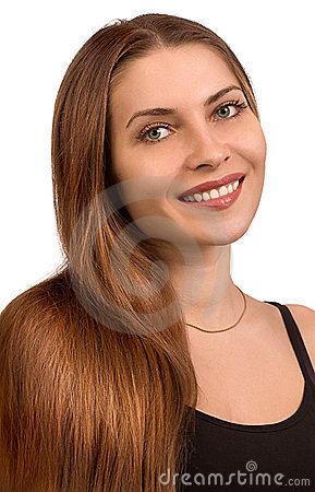 Portrait of the beautiful girl with long hair
