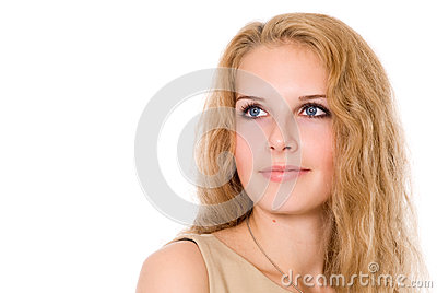 Portrait of a beautiful girl looking to the side