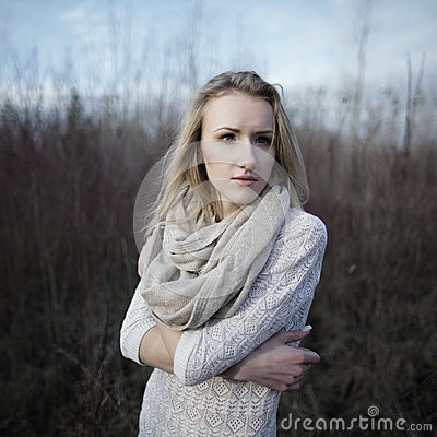 Portrait of beautiful girl on windy day