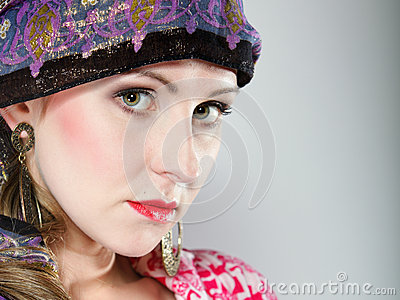 Portrait beautiful girl woman in a headscarf
