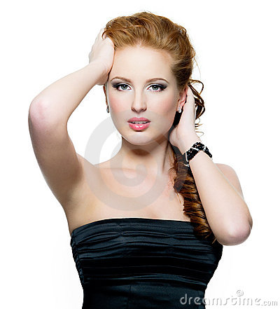 Portrait of beautiful glamour red-haired woman