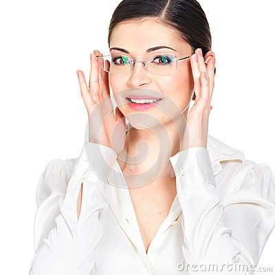 Portrait of the beautiful happy  woman in glasses