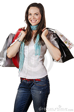 Portrait of a beautiful happy woman out shopping