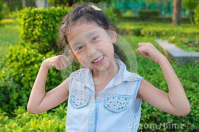 Portrait of a beautiful liitle girl close-up Stock Photo