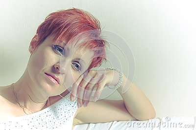Portrait of a beautiful melancholic woman