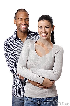 Portrait of beautiful mixed race couple smiling
