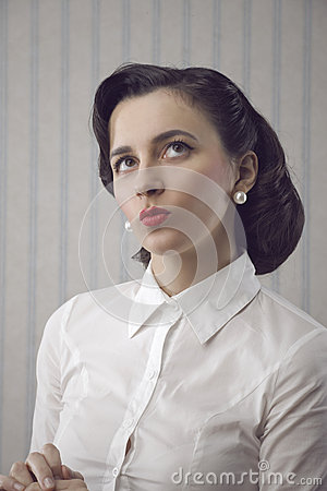 Portrait of beautiful retro business woman