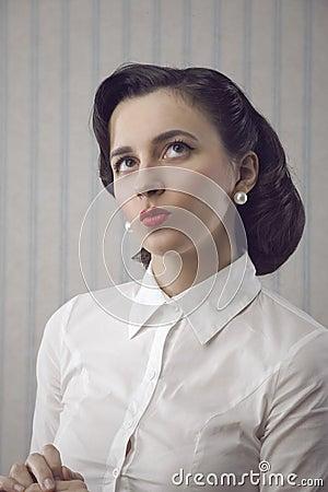 Portrait of beautiful retro business woman