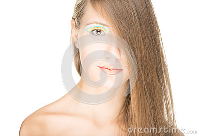 Portrait of beautiful sexy girl isolated on white.