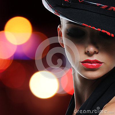 Portrait of the beautiful sexy woman with red lips