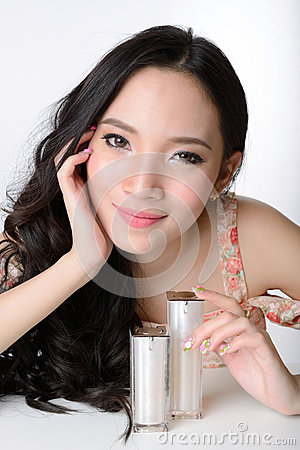 Portrait of beautiful smiling healthy asian woman model