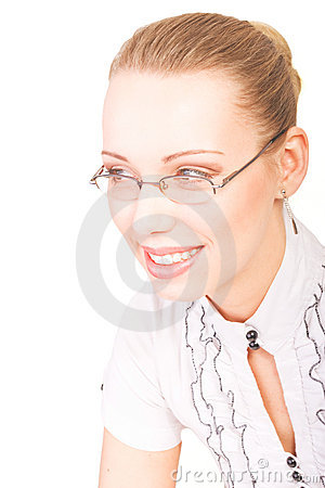 Portrait of beautiful smiling woman with glasses