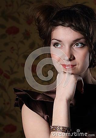 Portrait of the beautiful stylish brunette woman