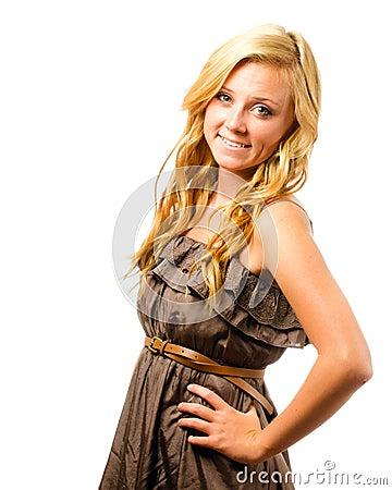 Portrait of beautiful teenage girl smiling