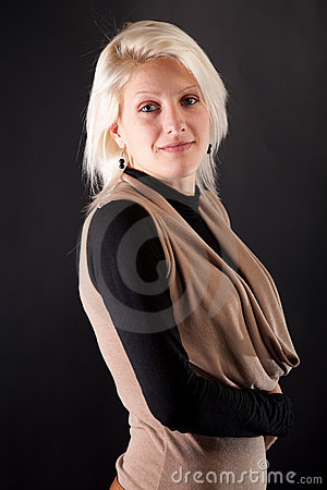 Portrait of a beautiful woman on a black backgroun