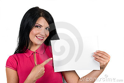 Portrait of beautiful woman with blank page