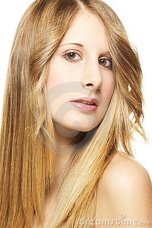 Portrait of a beautiful woman with long blonde hai