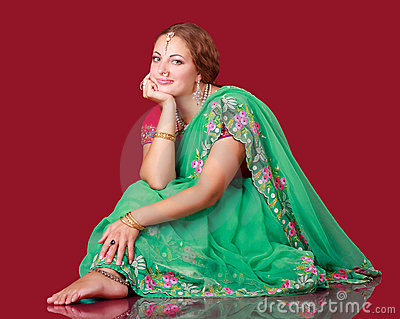 Portrait of a beautiful woman in sari