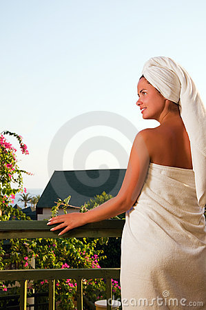 Portrait of beautiful woman after spa