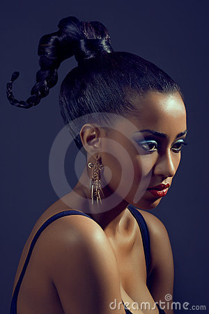 Portrait of beautiful woman with stylish hairstyle