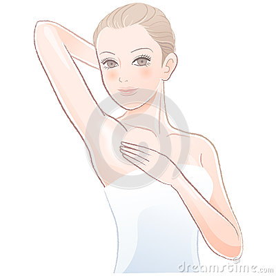 Portrait of Beautiful woman touching her underarm