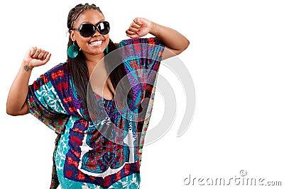 Portrait of beautiful young black woman dancing