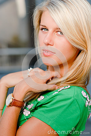<b>Beautifull Watch</b> Standing On Water Stock Illustration - Image: 64526308 - portrait-beautiful-young-blonde-girl-watch-26465797