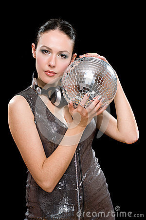 Portrait of beautiful young brunette with a mirror ball