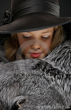Free Portrait Beautiful Young Lady In Grey Fur And Hat Stock Photos - 18800353