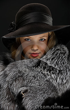 Free Portrait Beautiful Young Lady In Grey Fur And Hat Stock Photos - 18875553