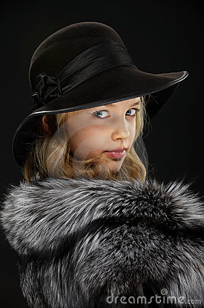 Free Portrait Beautiful Young Lady In Grey Fur And Hat Royalty Free Stock Photography - 18963107