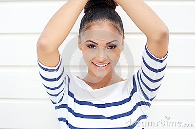 Portrait of a beautiful young latin women smiling