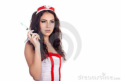 Portrait of a beautiful young nurse with syringe