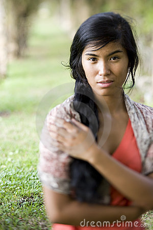 Portrait of beautiful young Pacific Islander woman