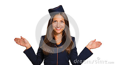 Portrait of a beautiful young woman dressed as a stewardess Stock Photo