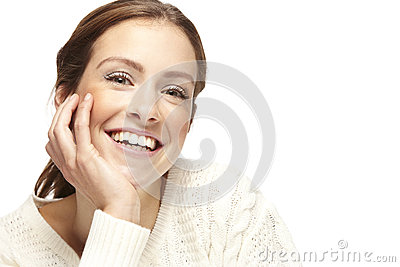 Portrait of a beautiful young woman, looking at camera Stock Photo