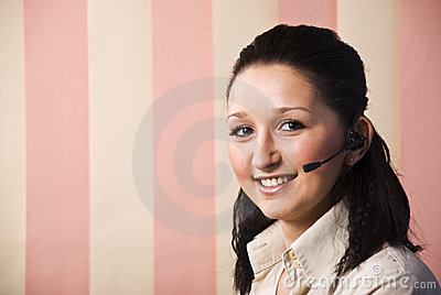 Portrait of beauty call center