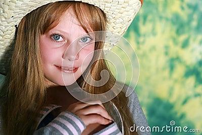 Portrait  beauty pensive young girl