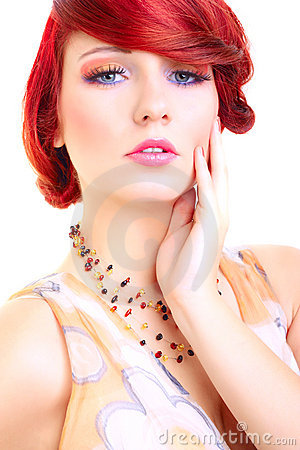 Portrait of beauty red hair woman, female model