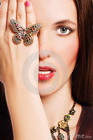 Portrait of beauty young woman with luxury jeweler