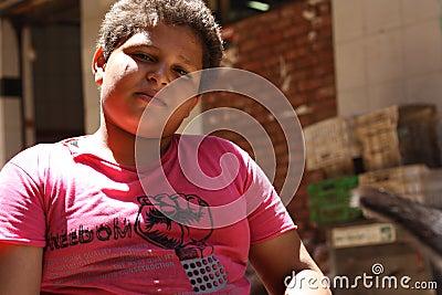 Portrait of a big boy, street background in giza, egypt