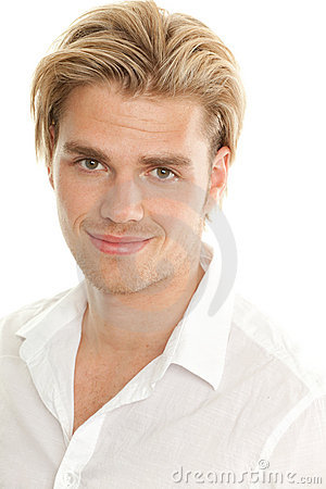 Portrait blond man