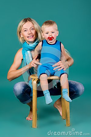Portrait of blonde mom and a son